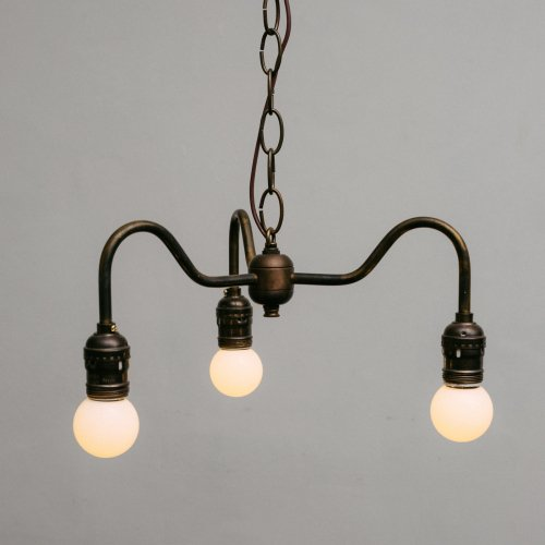 OPL004-A<br>3 BULBS LIGHT - Black Brass / 真鍮3灯照明