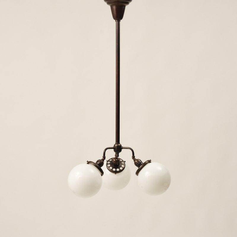 OPL077<br>3 BULBS POLE LAMP - Black Brass / 真鍮3灯照明