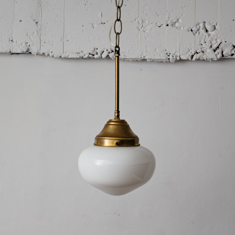 OPL318<br> PENDANT LAMP - M size SCHOOL HOUSE / 真鍮ガラスシェード照明