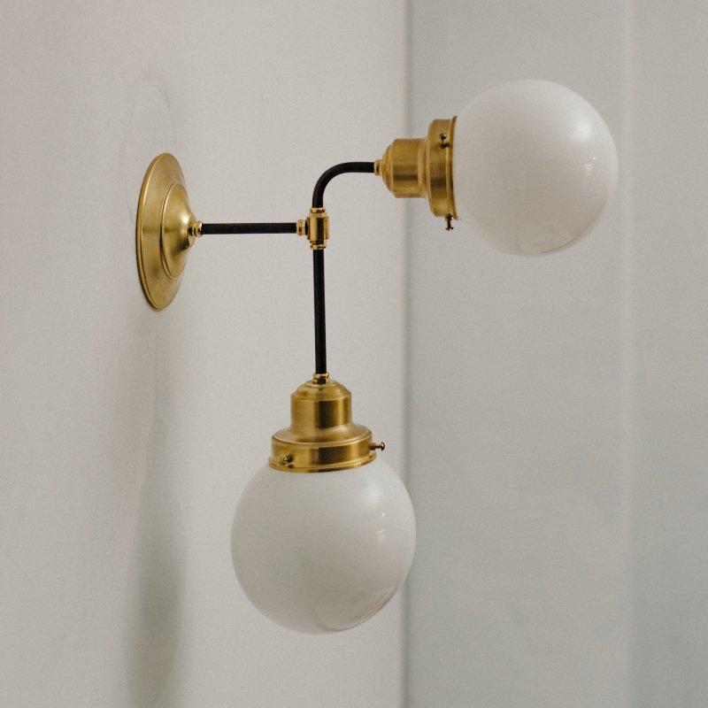 【再入荷】 OBL040<br>GLASS SHADE BRACKET LAMP / 真鍮2灯ガラスシェードブラケットランプ