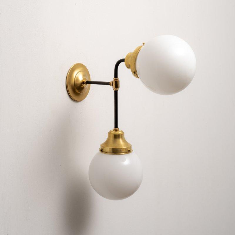 OBL040B<br>GLASS SHADE BRACKET LAMP / 真鍮2灯ガラスシェードブラケットランプ