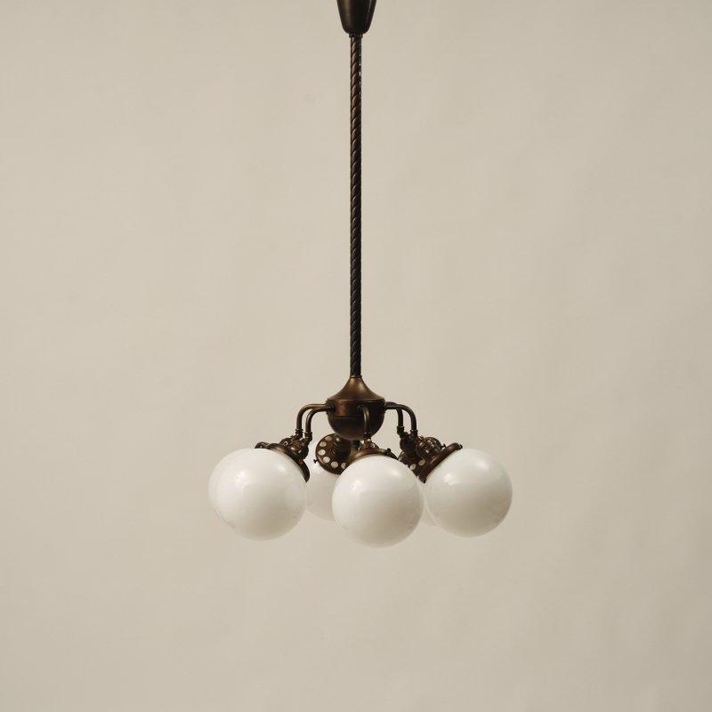 OCH018<br>INDUSTRIAL POLE CHANDELIER - Black Brass / 真鍮6灯照明