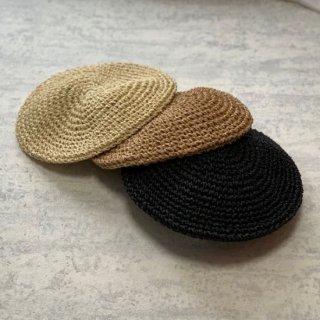 帽子 ベレー帽 ストロー ベージュ ブラック アイボリー