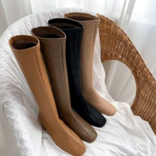 ロングブーツ スクエアブーツ レザー サイドジッパー 秋 冬 ヒール4cm 韓国 ブーツ シューズ