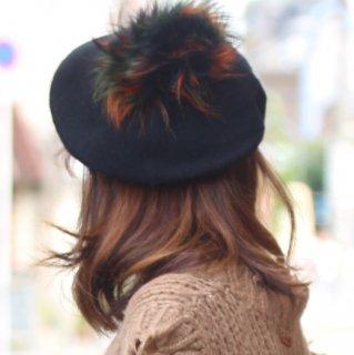 フェレットファー ミックスファー ポンポン ベレー帽