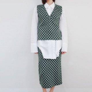 セットアップ ジャガード パターン ベスト ロングスカート