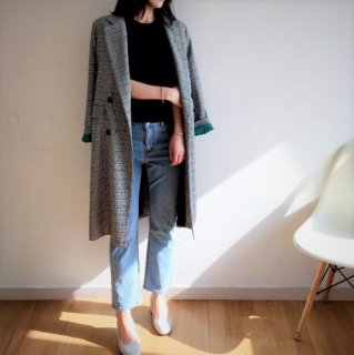 コート ロングコート グレンチェック 袖カラー ダブルボタン