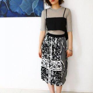 スカート バイカラー柄 SEAレトロ プリーツスカート