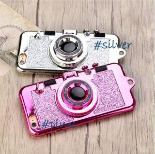 スマホケース iPhoneケース スマホカバー グリッター カメラ型 レンズスタンド