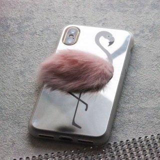 スマホカバー スマホケース iPhoneケース フラミンゴ ミラー ファー