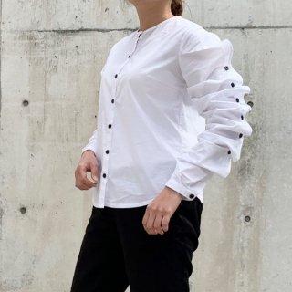 ノーカラーシャツ ブラウス フリルスリーブ 配色 フロントボタン ロングシャツ 長袖 ワイルドブレスト シャーリング