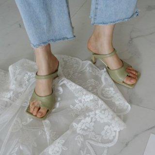 スクエアトゥ ヒール サンダル ワンベルト ミュール アシンメトリー 韓国 8cm 外縫い
