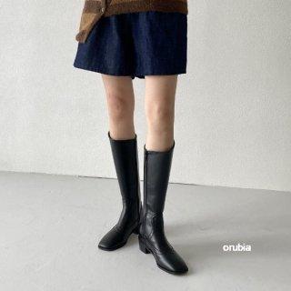 ジョッキーブーツ ロング 履き口 サイドジッパー ゆったり ローヒール シューズ