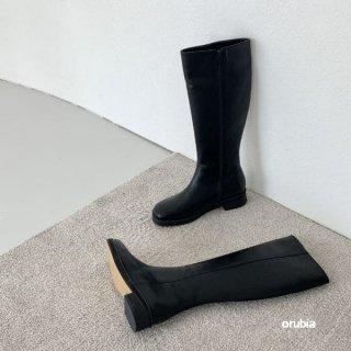 ロングブーツ ラウンドトゥ  履き口ワイド ローヒール シューズ シンプル