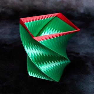 【艶&光沢】「411A」 幾何学模様のツートンカラー