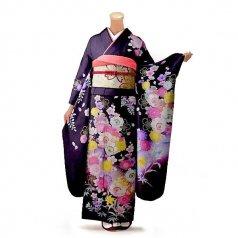 振袖 フルセット 花柄 Mサイズ 紫系(中古 リユース 美品)56316