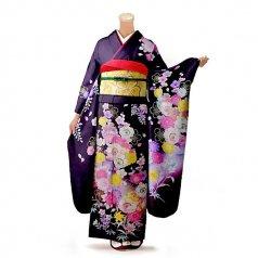 振袖 フルセット 花柄 Lサイズ 紫系(中古 リユース 美品)56316
