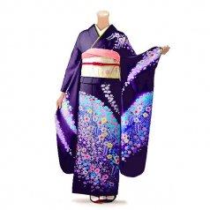 振袖 フルセット 花柄 Mサイズ 紫系(中古 リユース 美品)56220