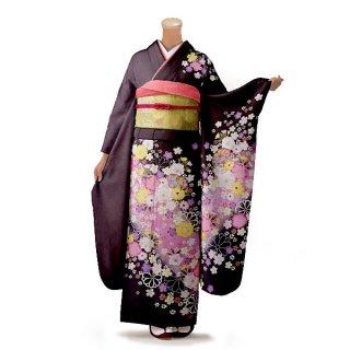 振袖 フルセット 花柄 Mサイズ 茶系(中古 リユース 美品)76276