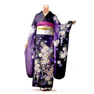 振袖 フルセット 花柄 Mサイズ 紫系(中古 リユース 美品)56225
