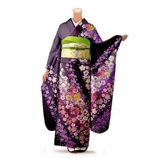 振袖 フルセット 花柄 Lサイズ 紫系(中古 リユース 美品)56254