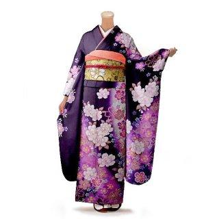 振袖 フルセット 花柄 Mサイズ 紫系(中古 リユース 美品)56204