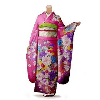 振袖 フルセット 花柄 Lサイズ ピンク・オレンジ系(中古 リユース 美品)46431