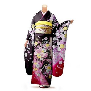 振袖 フルセット 花柄 Mサイズ 茶系(中古 リユース 美品)76324