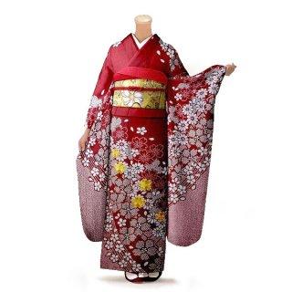振袖 フルセット 絞り Lサイズ 赤・ワイン系(中古 リユース 美品)13036