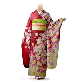 振袖 フルセット 花柄 Lサイズ 赤・ワイン系(中古 リユース 美品)16494