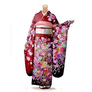 振袖 フルセット 花柄 Mサイズ 赤・ワイン系(中古 リユース 美品)16424