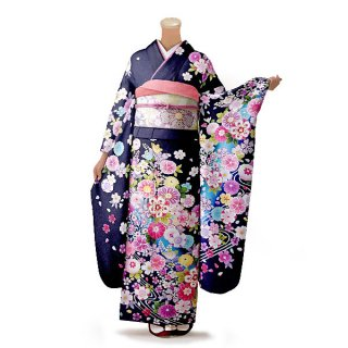 振袖 フルセット 花柄 Mサイズ 青・紺系(中古 リユース 美品)26468