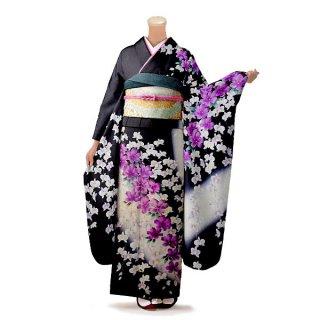 振袖 フルセット 花柄 Mサイズ 黒系(中古 リユース 美品)66550