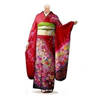 振袖 フルセット 花柄 Mサイズ 赤・ワイン系(中古 リユース 美品)16566