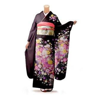 振袖 フルセット 花柄 Lサイズ 茶系(中古 リユース 美品)76276