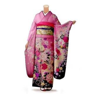 振袖 フルセット 花柄 Mサイズ ピンク・オレンジ系(中古 リユース 美品)46334