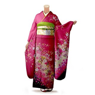 振袖 フルセット 花柄 Mサイズ ピンク・オレンジ系(中古 リユース 美品)46171