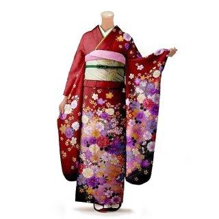 振袖 フルセット 花柄 Mサイズ 赤・ワイン系(中古 リユース 美品)16243