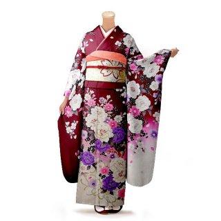 振袖 フルセット 花柄 Mサイズ 赤・ワイン系(中古 リユース 美品)16298