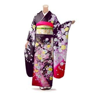 振袖 フルセット 花柄 Lサイズ 茶系(中古 リユース 美品)76324