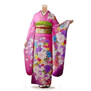 振袖 フルセット 花柄 Mサイズ ピンク・オレンジ系(中古 リユース 美品)46431