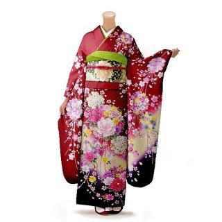 振袖 フルセット 花柄 Mサイズ 赤・ワイン系(中古 リユース 美品)16341