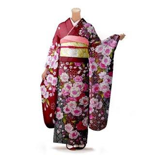 振袖 フルセット 花柄 Lサイズ 赤・ワイン系(中古 リユース 美品)16410