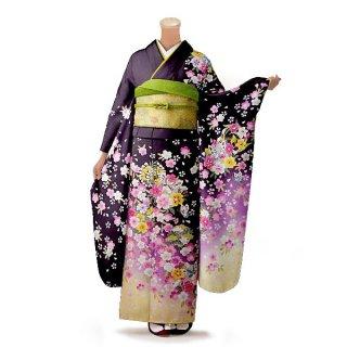 振袖 フルセット 花柄 Lサイズ 紫系(中古 リユース 美品)56178