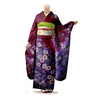 振袖 フルセット 花柄 Mサイズ 紫系(中古 リユース 美品)56461