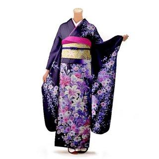 振袖 フルセット 花柄 Mサイズ 紫系(中古 リユース 美品)56310
