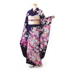 振袖 フルセット 花柄 Lサイズ 紫系 (中古 リユース 美品) 56957