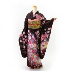 振袖 フルセット 花柄 Mサイズ 茶系 (中古 リユース 美品) 76210