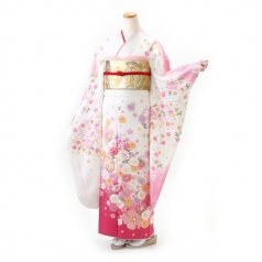 振袖 フルセット 花柄 Mサイズ 白・グレー系 (中古 リユース 美品) 86332