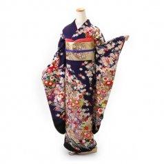 振袖 フルセット 古典 Lサイズ 紫系 (中古 リユース 美品) 50188